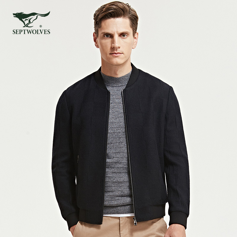 Seven wolves mens 2019 new tweed jacket mens black wool jacket short winter thick authentic package