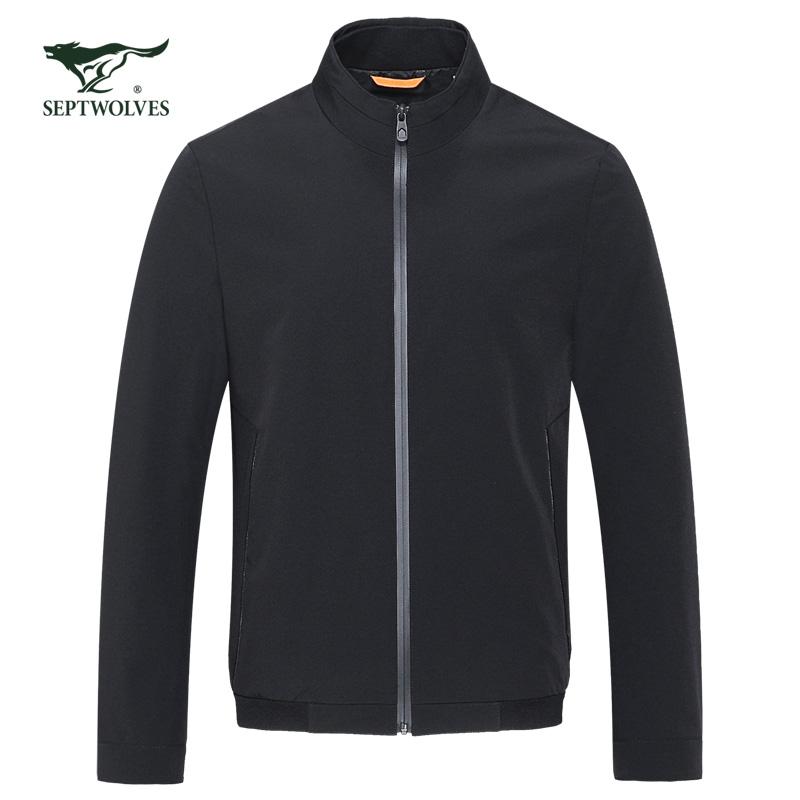 七匹狼短款夹克男士黑色立领茄克秋季外套2018新款男装专柜正品