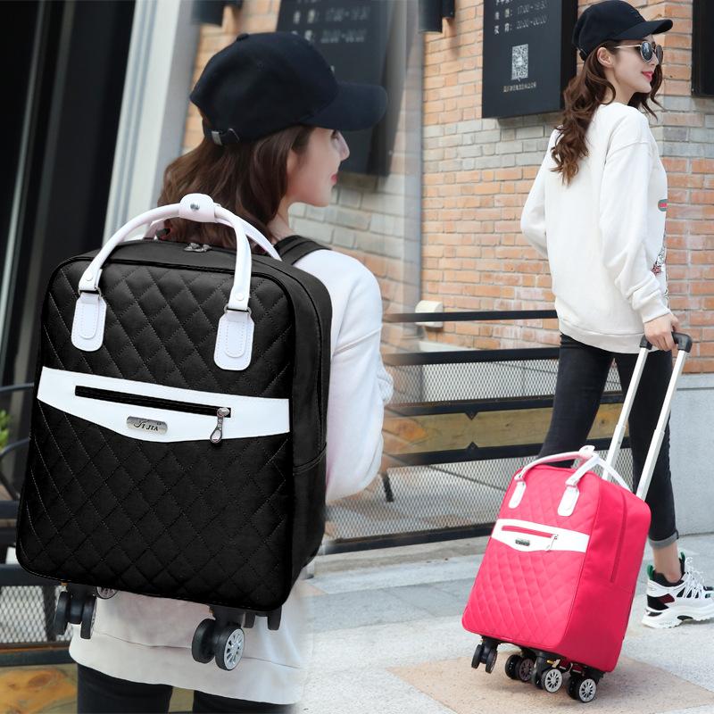 Korean version universal wheel pull rod bag womens boarding light waterproof business travel bag folding luggage bag mens backpack