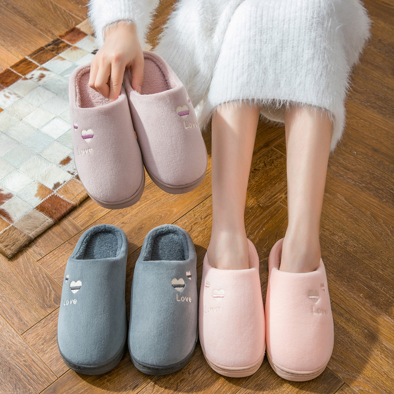 Cotton slippers female winter indoor thick bottom antiskid couple household warm moon shoes cartoon cute hairy slipper man