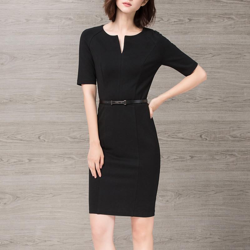 春秋职业女装黑色ol修身气质连衣裙12月12日最新优惠