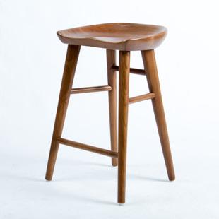 实木高脚凳子家用酒吧椅子吧凳现代简约家居复古吧台凳 吧台椅美式