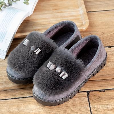 妈妈鞋冬季室内乐福包根棉拖鞋女毛毛棉鞋防滑软底加绒保暖月子鞋