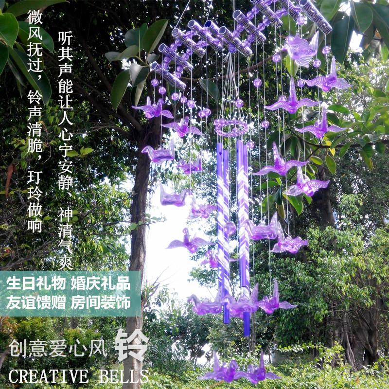 创意仿水晶爱心挂饰金属日式女风铃