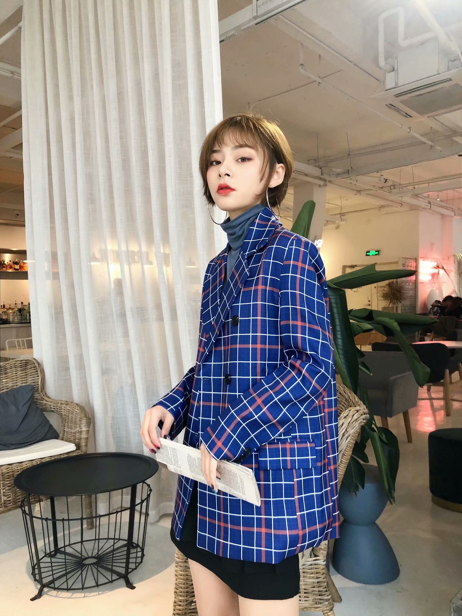 Blue Plaid casual suit 2020 New Retro Hong Kong Style loose and versatile coat