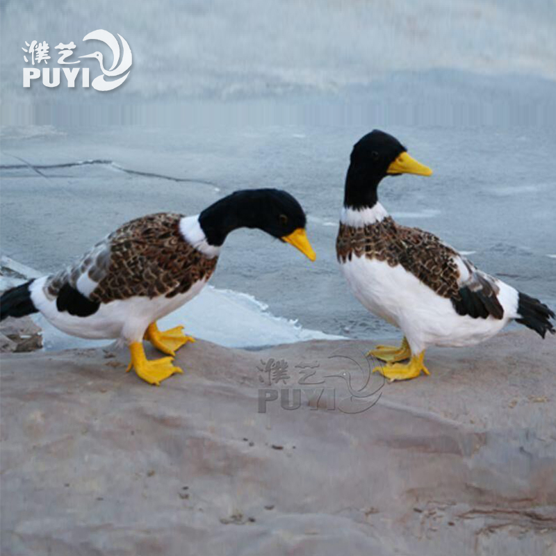 仿真羽毛鸭子摆件仿真展翅园林装饰模型野鸭户外家居鸭子活苗促销