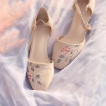 【未央歌】青伊原创手绘的复古风高跟凉鞋文艺搭配旗袍单鞋新款