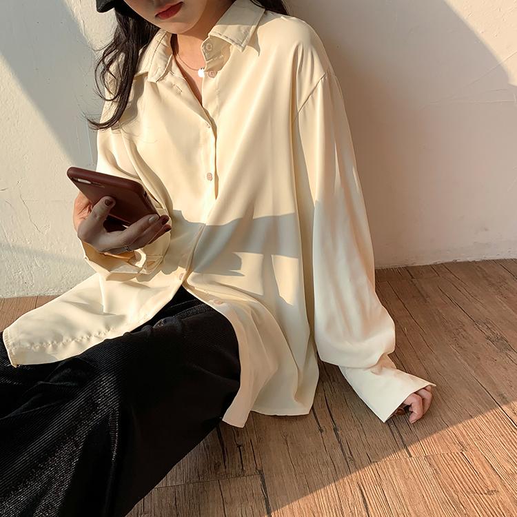 小屈百搭衬衫女秋款高级设计众垂感米白色秋冬雪纺白衬衣长袖上衣