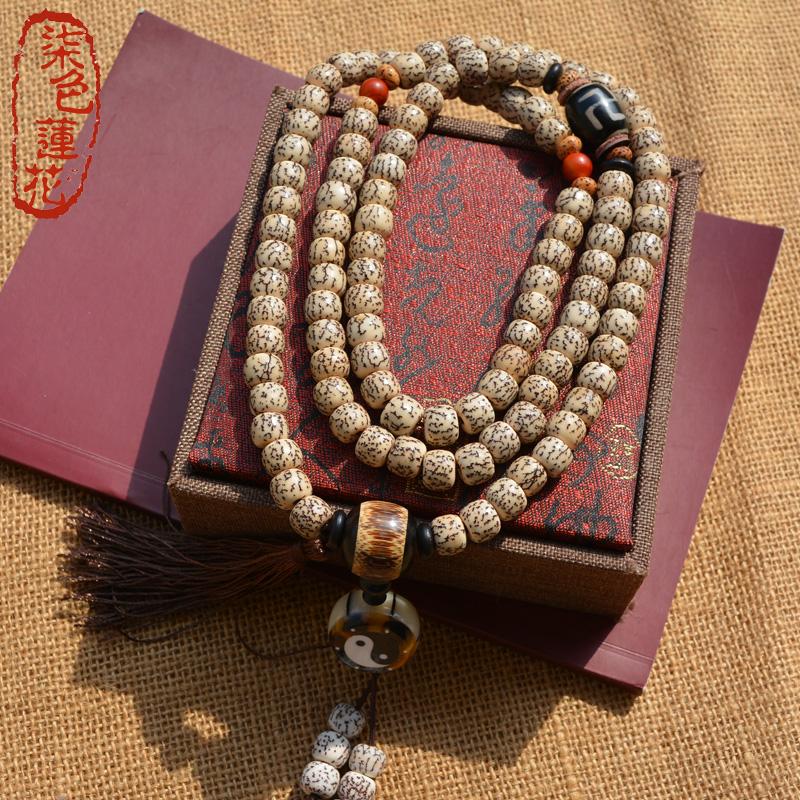 藏式血丝菩提108颗星月手串手链佛珠念珠金丝菩提子项链男女款