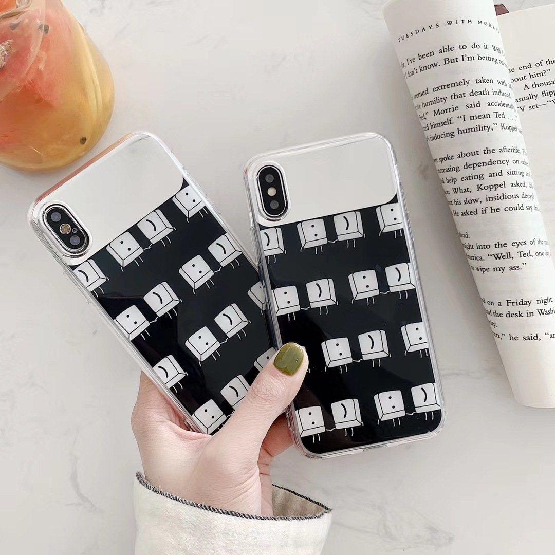 简约表情键盘补妆镜xs max手机壳适用苹果xr防摔7/8plus软壳x情侣