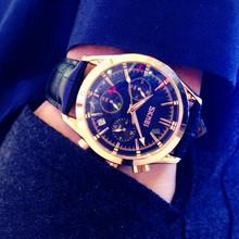Подлинный приток мужчин корея тенденция кожаный ремень наручные часы мужчина водонепроницаемый мужской многофункциональный бизнес запястье стол серебристые кварц наручные часы