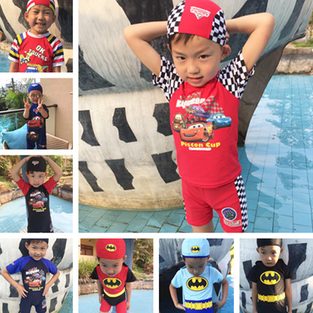 Package post childrens hot spring one piece car swimsuit Swimsuit Boys sunscreen car general mobilization McQueen swimsuit with swimming cap