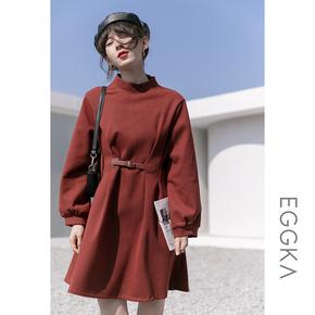 EGGKA年会新年红色连衣裙女加厚冬季2020年新款小个子设计感裙子