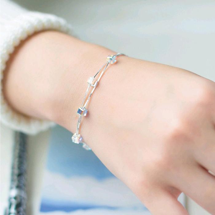 925 Sterling Silver Bracelet feminine temperament sweet multi-layer geometric Bracelet Korean student simple jewelry Tanabata 520 gift