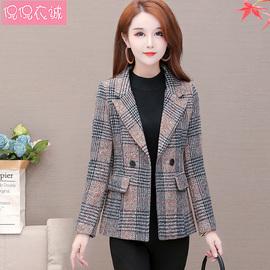 格子毛呢西装外套女修身韩版2020秋款新款短款西服小个子呢子大衣