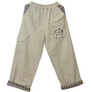 日系少女直筒高腰寬鬆闊腿工裝褲小熊刺繡軟妹小清新學生減齡九分