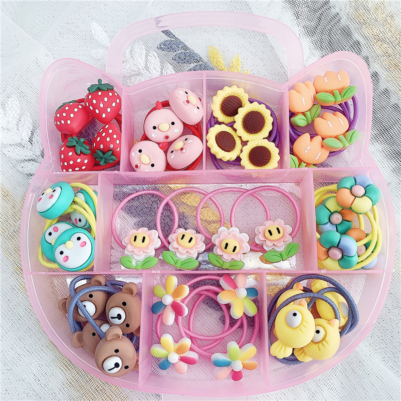Korean version of childrens hair rope girls small leather case does not hurt the hair band baby hairpin cute hair ring girls hair accessories