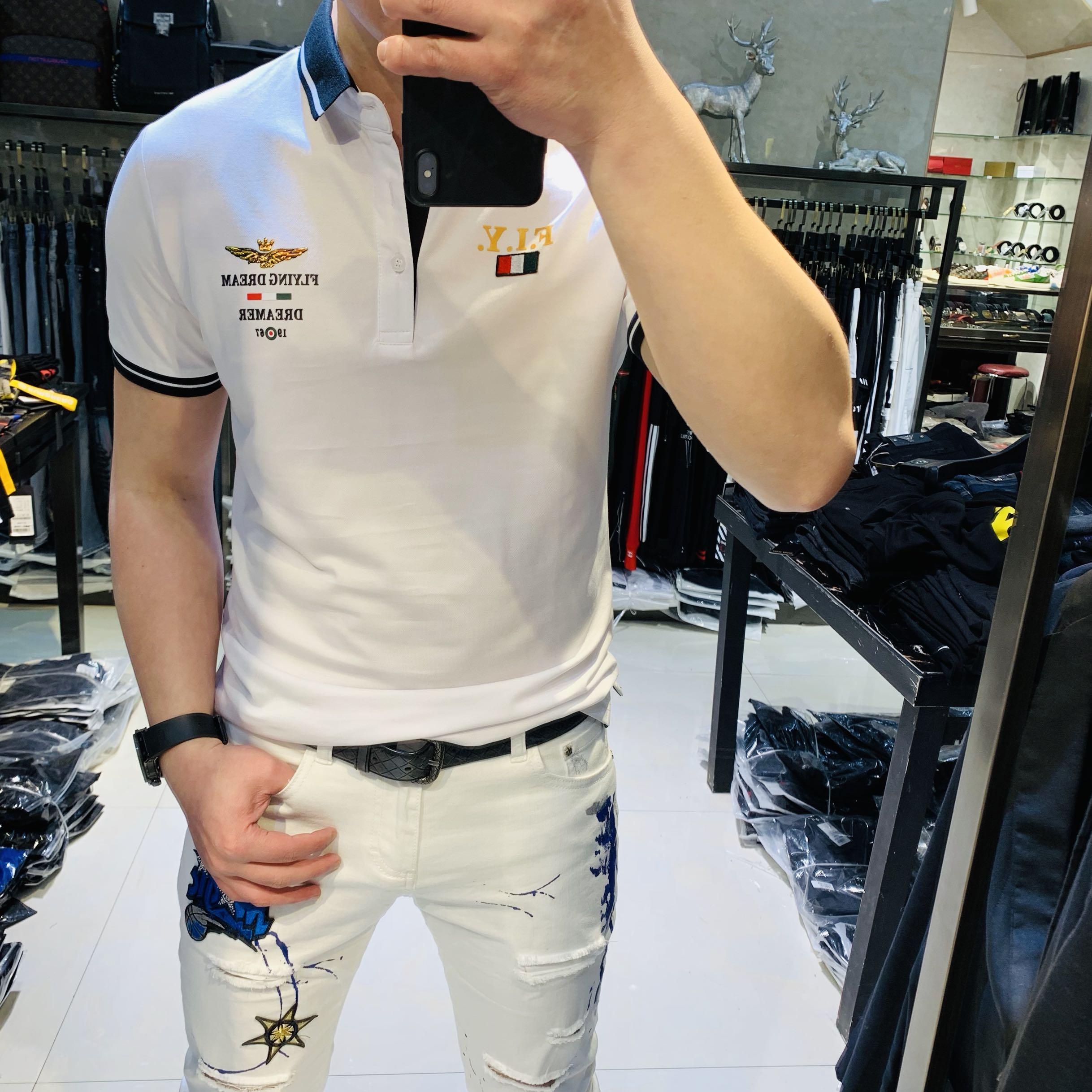 男士2019夏季新款欧美风个性潮牌修身Polo衫五分短袖翻领t恤男潮