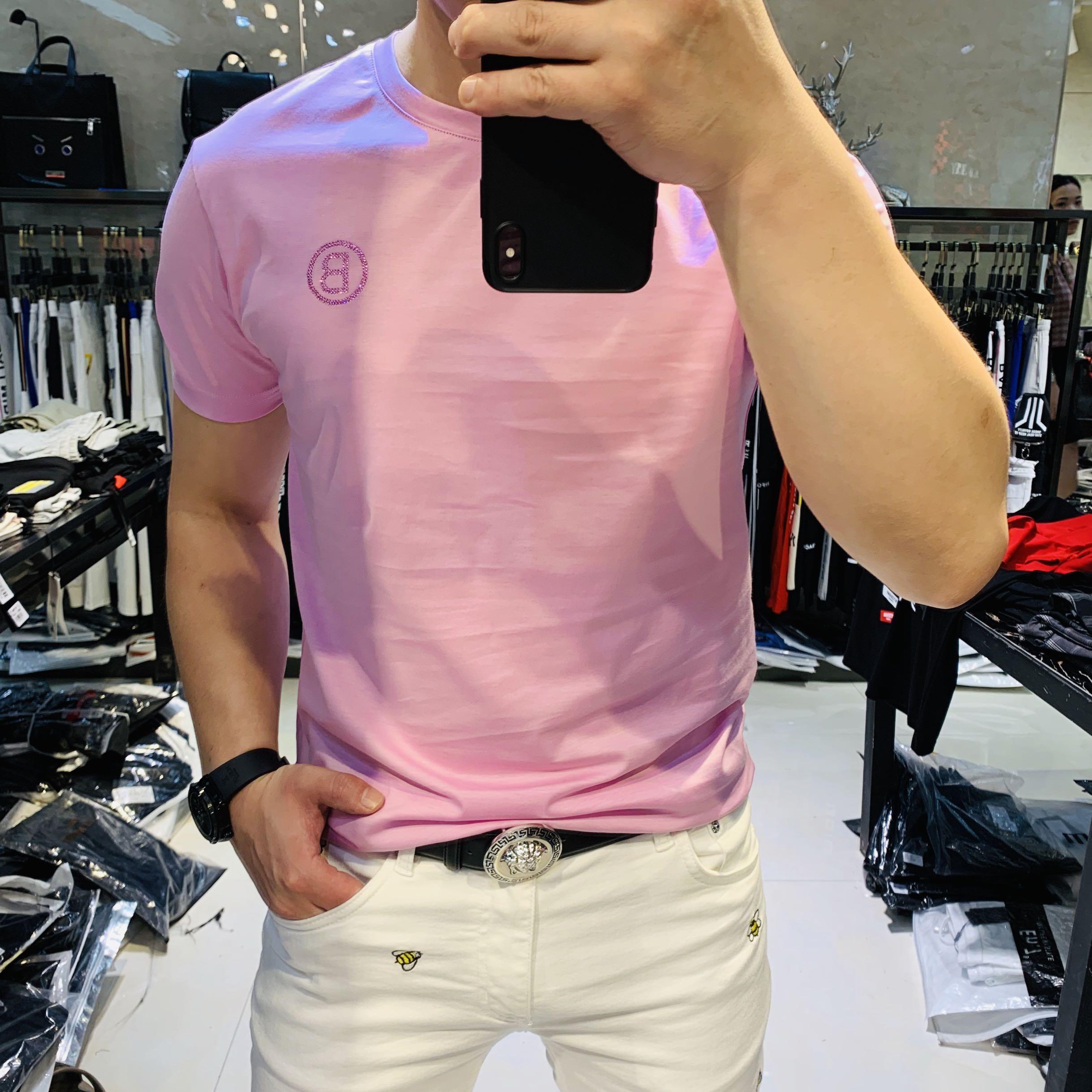 夏季新款丝光棉短袖T恤男欧美纯色潮牌时尚休闲弹力修身韩版半袖