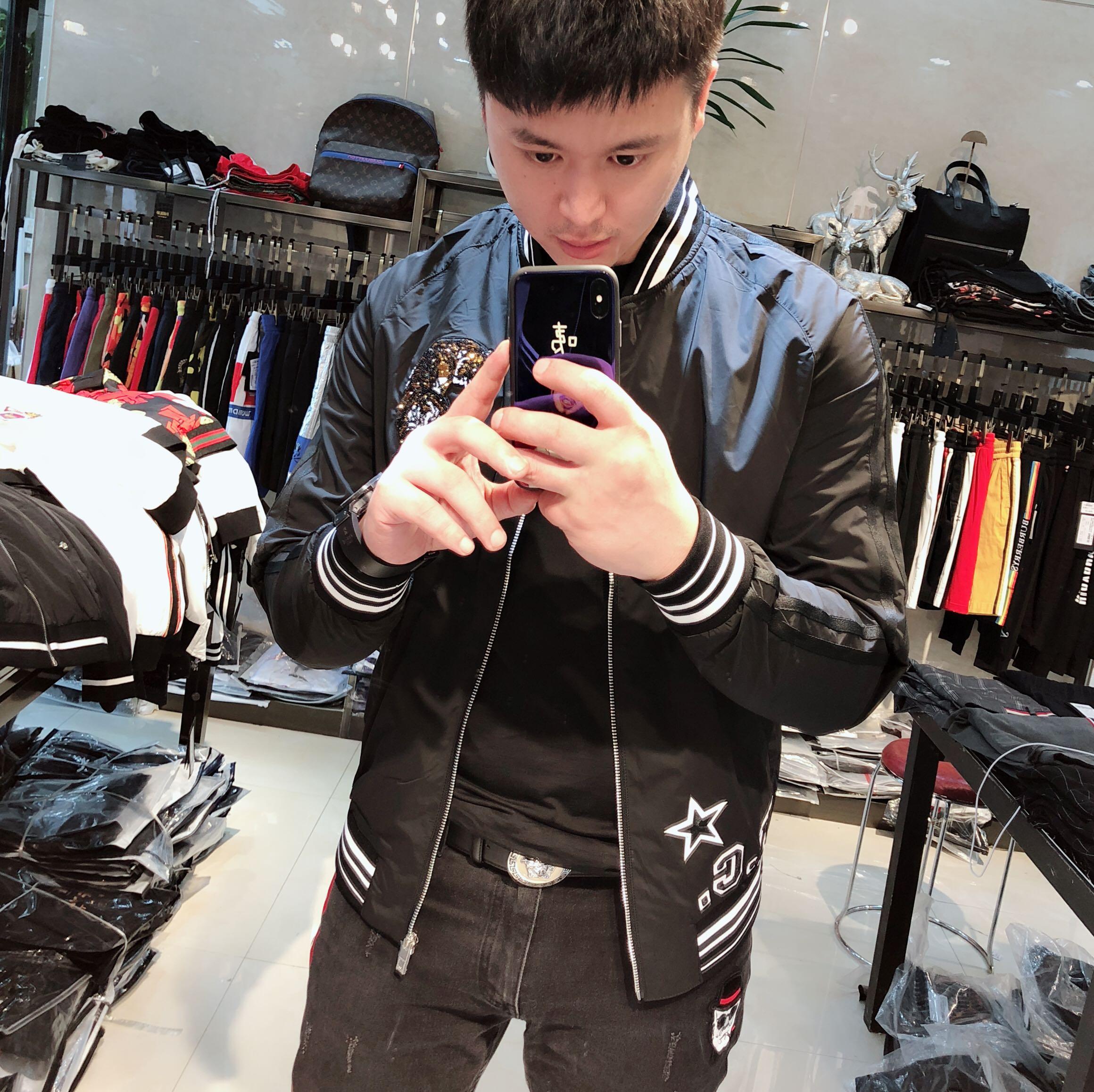 快手红人同款刺绣外套18秋季新款社会精神青年时尚潮流棒球领夹克