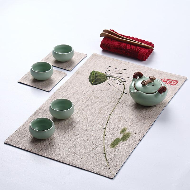 餐桌垫手绘茶席新中式桌旗禅意中国风日式茶帘餐垫茶旗棉麻