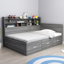 现代简约榻榻米床小户型单人床带书架版式床头高箱双人储物儿童床