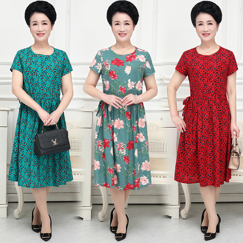Middle aged and old peoples mother cotton hemp dress mothers day short sleeve printing qunzi mother in laws loose large size skirt QZ