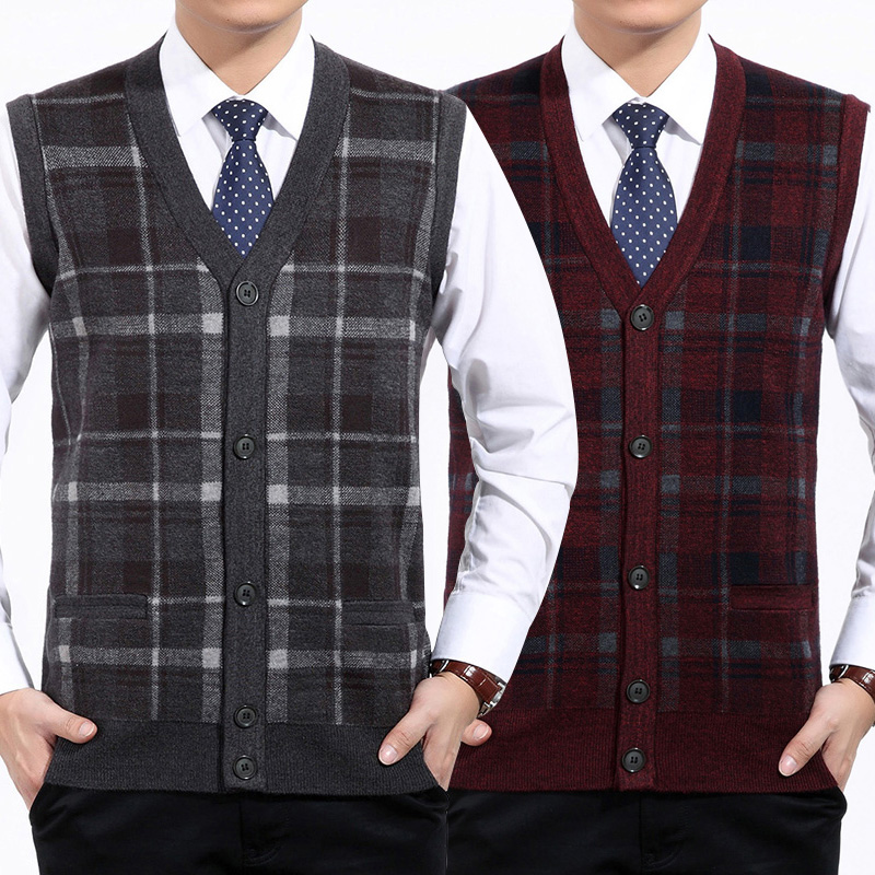 Spring and autumn mens plaid sweater vest cardigan V-Neck Sweater Vest middle-aged and old dad suit bottom knitting width