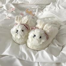 可爱毛绒小白兔毛毛拖鞋ulzzang百搭包头兔兔棉拖鞋网红一脚蹬