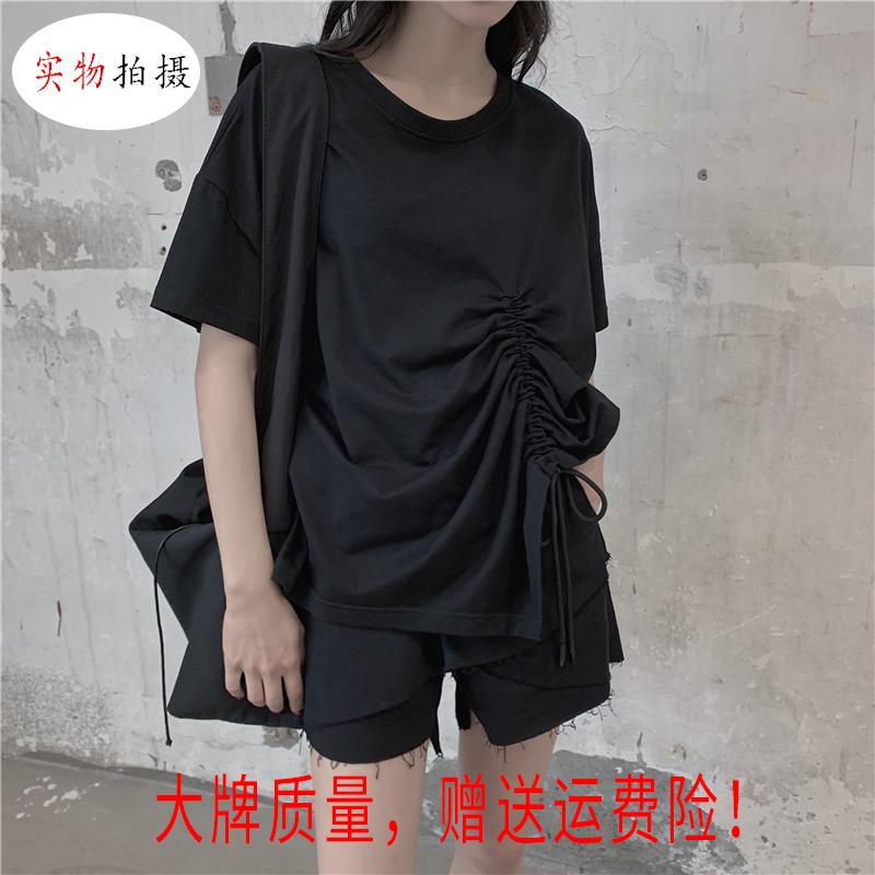 大牌暗黑系抽绳不对称短袖女纯色棉气质宽松T恤褶皱心机上衣ins潮