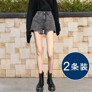烟灰色牛仔短裤女夏宽松2021年新款薄款超高腰显瘦a字阔腿裤潮ins