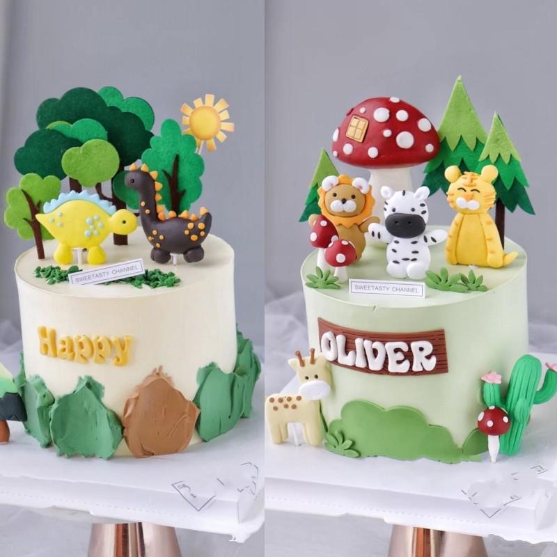 森系蛋糕装饰小动物狮子小奶牛老虎绿色蛋糕儿童生日派对装饰配件