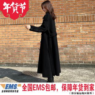 黑色大衣女过膝中长款2019流行新款韩版宽松呢子加厚冬季毛呢外套图片
