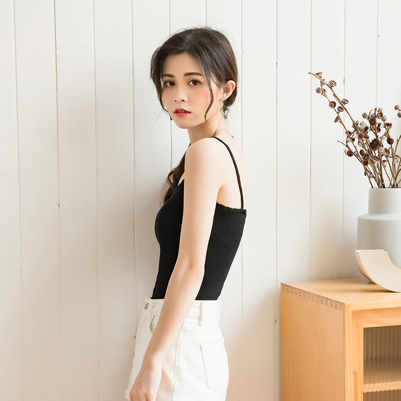 Beautiful back knitted suspender for women 2020 summer new style sleeveless vest with white bottom