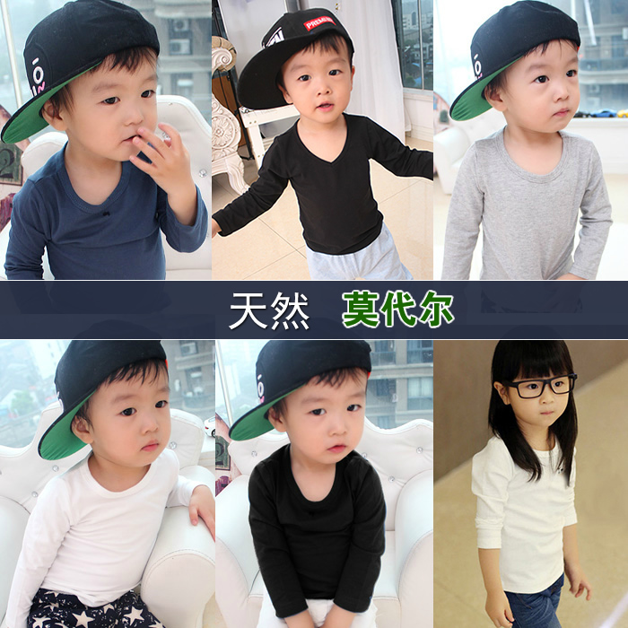春と秋の服装の高品質の子供の長袖のTシャツの赤ちゃんのモジュアルの上着の薄い金の無地の色の打地のシャツの白い灰色の黒