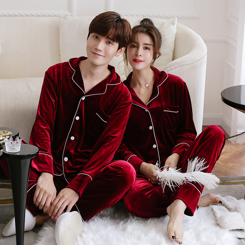 金丝绒情侣睡衣长袖开衫家居服男士休闲套装韩版女士加绒保暖内衣