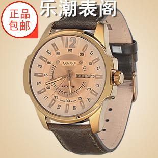 Julius/ポリス時ファッションカレンダー防水ベルト腕時計男性シンプルビジネスカジュアル水晶腕時計017
