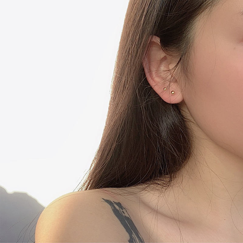 Ls minimalist sleep without Earrings female temperament Korean personality simple beans small earrings