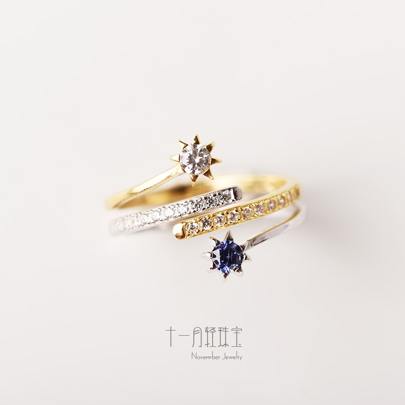 November star stars925 Sterling Silver Ring Star Jewel * two in one ring design fashion trend