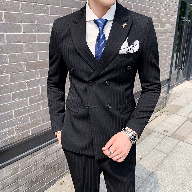 2020 autumn new double breasted suit striped suit three piece wedding dress slim fit British style man
