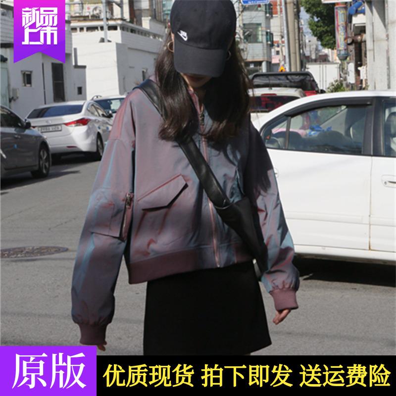FAYEYE SHOP自制 人鱼姬飞行夹克棒球服女秋新款韩版宽松短款外套