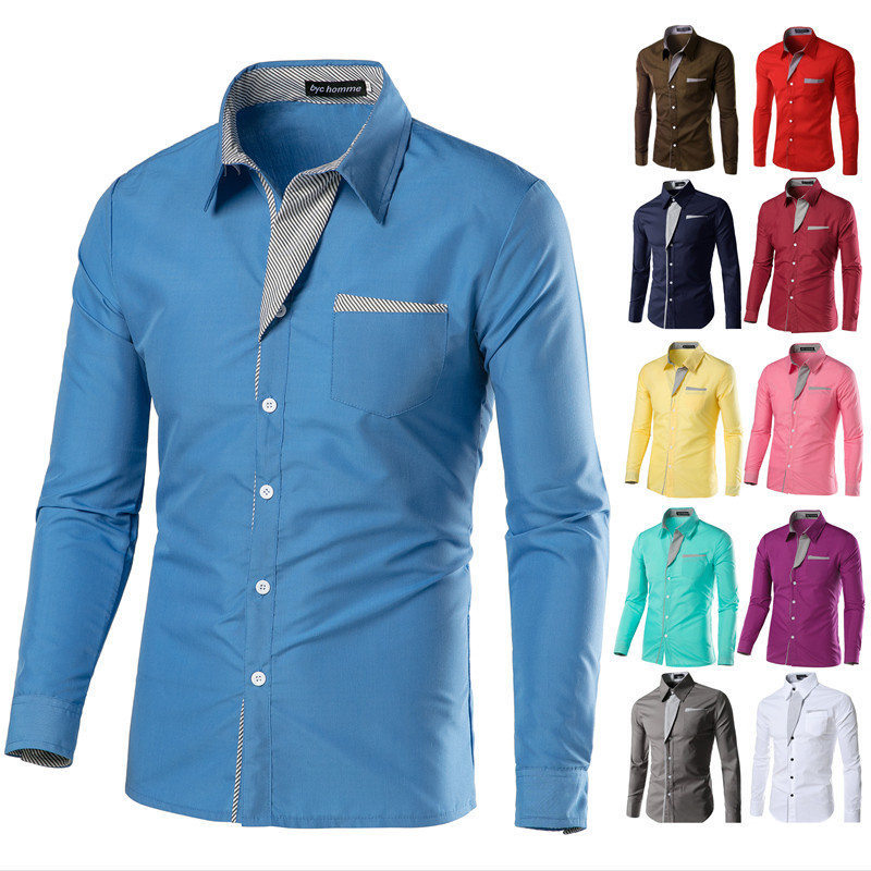男Men Jeans Shirt Cotton Slim Fit Brand Casual Denim Shirts