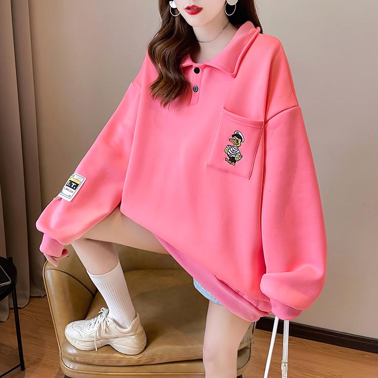 實拍牛奶絲復合 Polo領衛衣女2021新款秋冬寬松休閑加絨加厚上衣