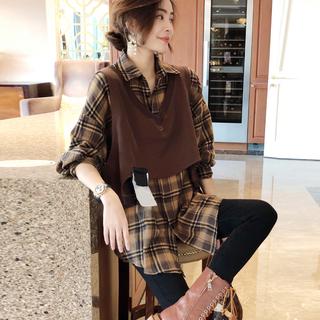 欧洲站秋装2020新款欧货女装格子衬衫马甲两件套女早秋时尚套装潮