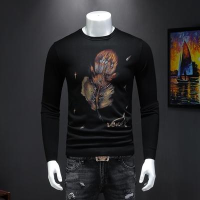 男长袖毛衣 新款针织衫手绘工艺提花时尚毛衫打底 货号8910 P100