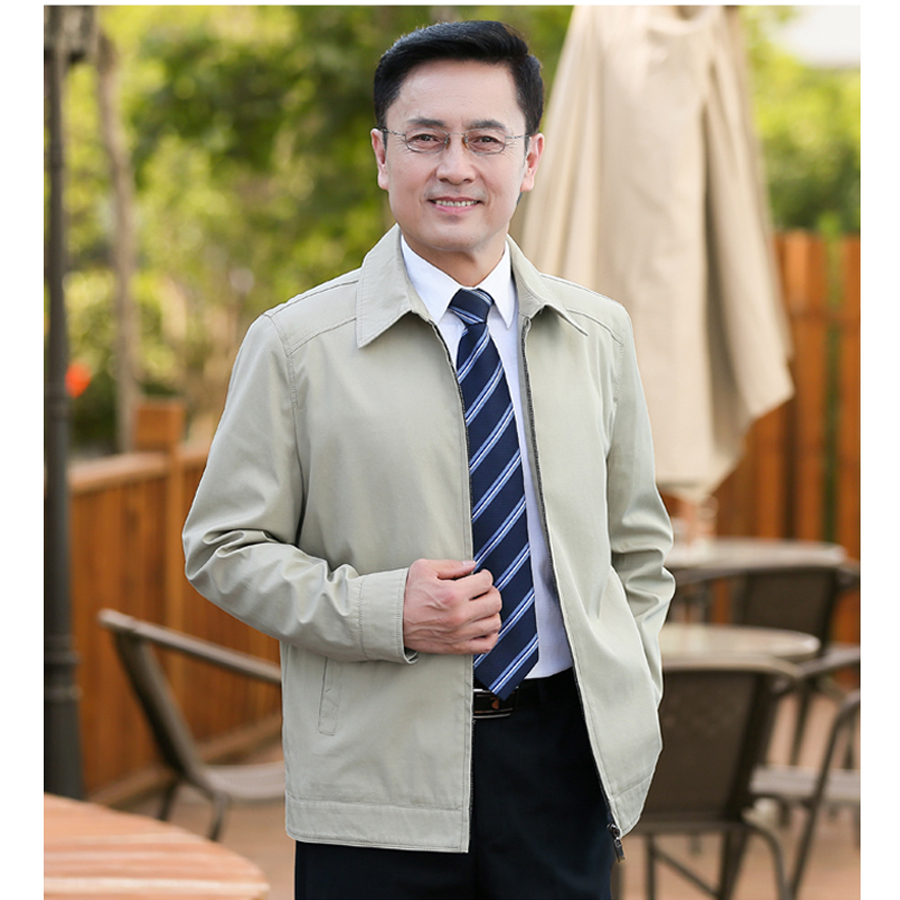 Promotion of middle-aged mens jacket business leisure Khaki spring thin top Fathers coat