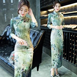 2020新款改良丝绸旗袍长款七分袖优雅修身少女宴会日常旗