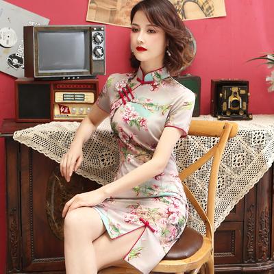 老上海日常新式旗袍连衣裙改良夏年轻款时尚修身性感少女短款旗袍