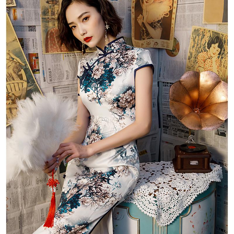 汝韵老上海改良版丝绸年轻款少女长款复古中国风民国学生日常旗袍