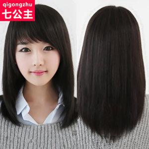 假发女中长直发全头套式 假发女锁骨发中长发 网红 过肩假发仿真